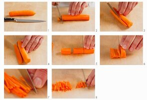 Cutting julienne carrots