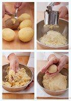 Kartoffelknödel aus gekochten Kartoffeln herstellen
