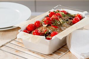 Roast Mediterranean minced meat with cherry tomatoes