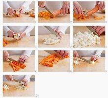 Möhre, Knollensellerie und Zwiebel klein schneiden