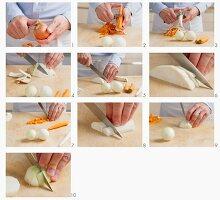 Zwiebel, Möhre und Knollensellerie putzen und klein schneiden