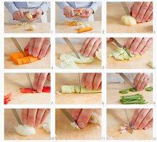 Gemüse und Pancetta für Minestrone vorbereiten
