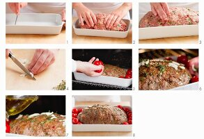 Mediterranean-style meat loaf being prepared