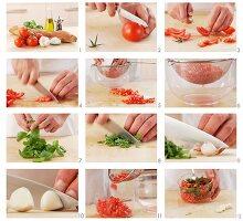 Tomaten und Basilikum für Bruschetta vorbereiten
