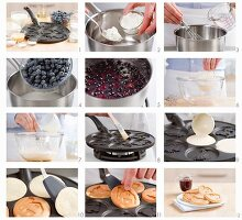 Pancake with blueberry sauce being prepared