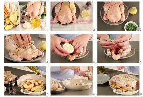 Rosmarin-Hähnchen mit Röstgemüse zubereiten