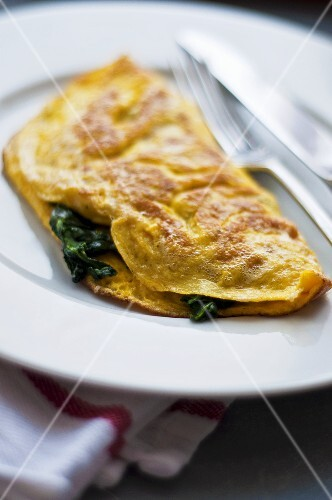 Spinach omelette on plate