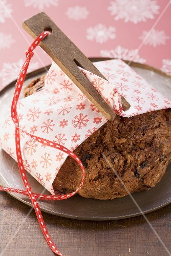 Fruit bread wrapped in a Christmas napkin