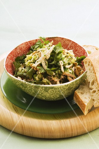 Chicken salad with walnuts and parsley