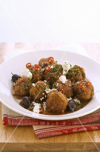 Meatballs with olives and feta cheese