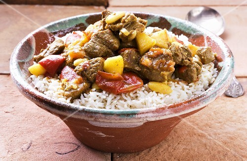 Lamb curry on a bed of rice