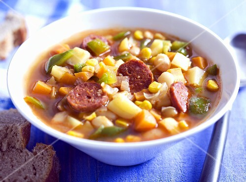 Mexican bean soup with sausage