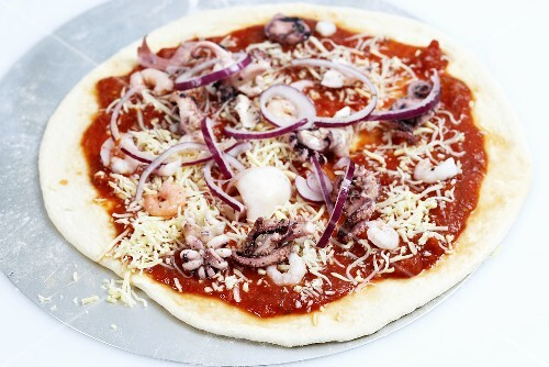 Seafood pizza (raw)