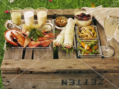 A picnic of seafood, salad and champagne