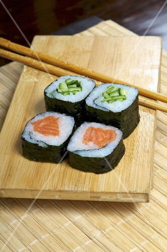 Maki sushi with salmon and cucumber