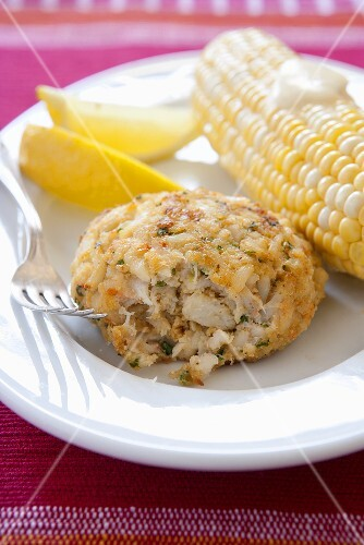 Classic Crab Cake with Corn on the Cob and Lemon Wedges