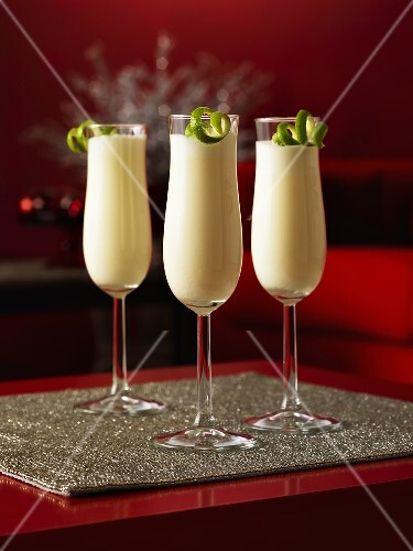 Three glasses with Ramos Gin Fizz