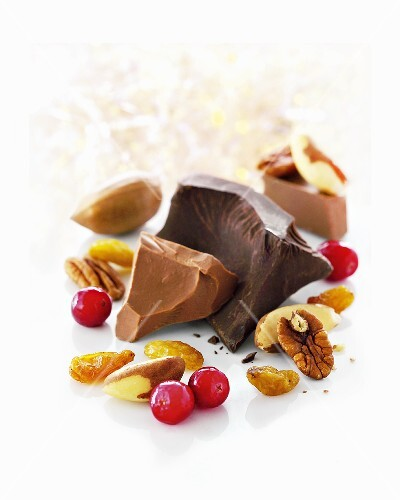 Chocolate, nuts, cranberries, dried fruit