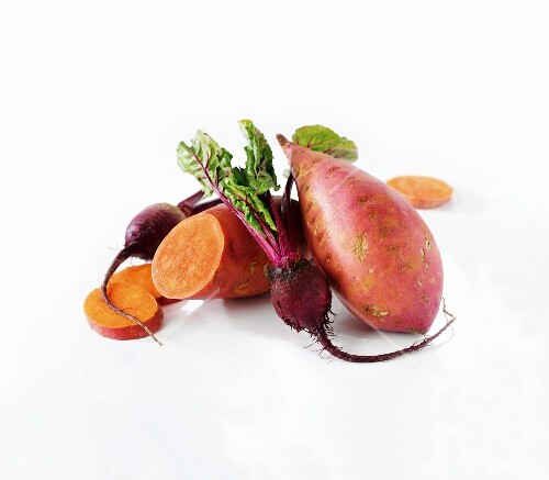 Sweet potatoes and beetroot