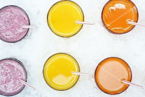 Fruit juices and fruit shake in ice