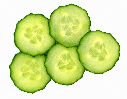 Five slices of cucumber
