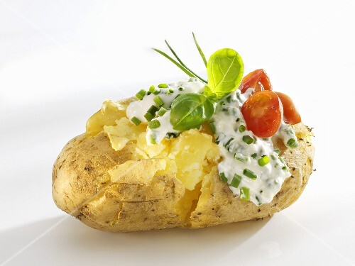 Baked potato with quark and chives