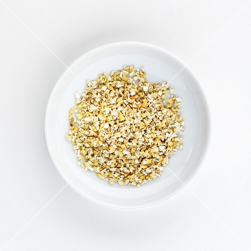 Wheat bran on a plate, seen from above