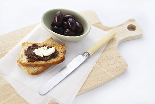 Tapenade and soft cheese on toast
