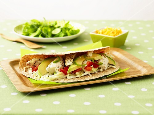 Burritos with halibut and avocado