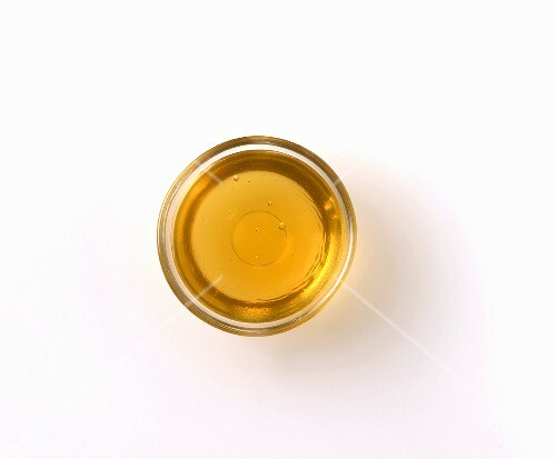 A jar of honey, seen from above