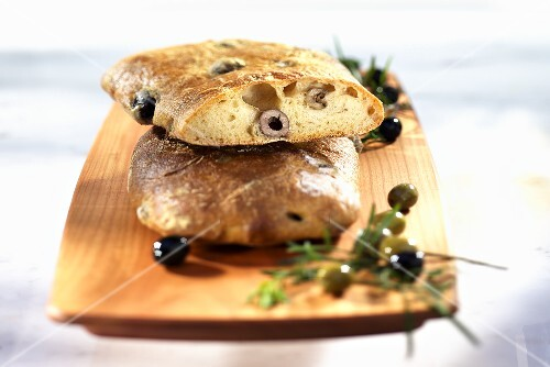 Ciabatta with olives and Parmesan cheese