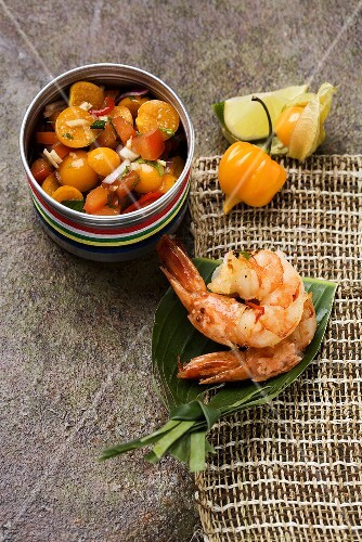 Chilli prawns with physalis and tomato salsa
