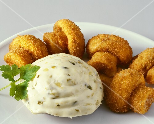 Breaded fried mushrooms with remoulade sauce