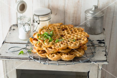 Savoury tomato and mozzarella waffles with basil