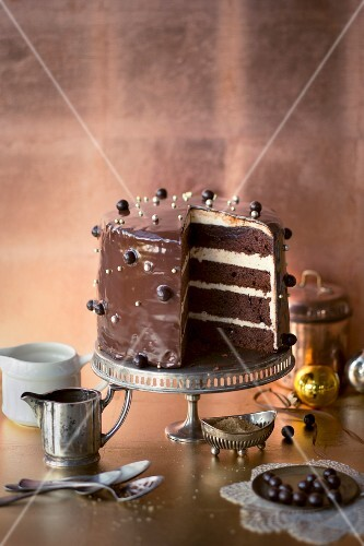 Chocolate cake with a nut cream filling