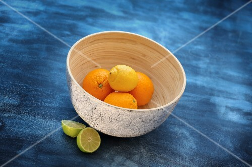 Citrus fruits in a decorative bowl