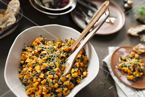 A pumpkin, mango and lentil salad