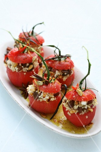 Stuffed tomatoes with rice salad