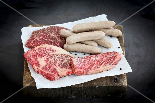 Cuts of Wagyu beef and Wagyu sausages