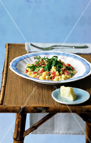Potato risotto with pepper and basil