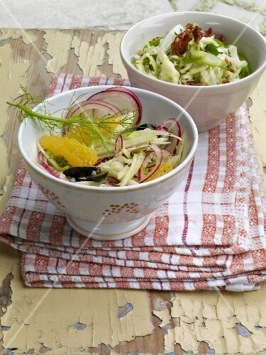 White cabbage salad, and fennel and orange salad