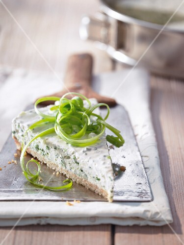 A slice of feta cheese cake