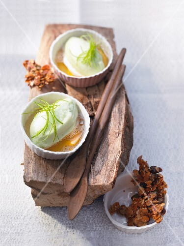 Apple and woodruff ice cream with brittle