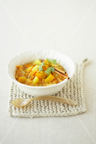 Lentil stew with pumpkin, potatoes, coriander and cinnamon