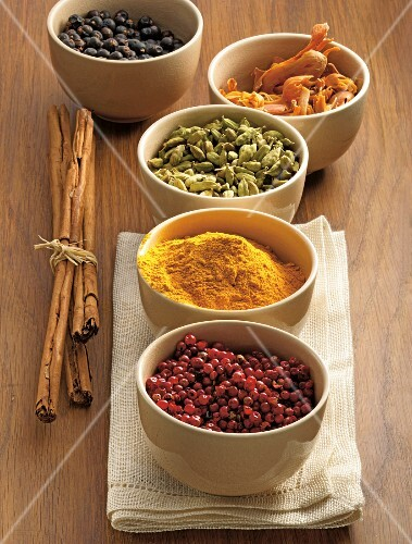 An arrangement of various spices