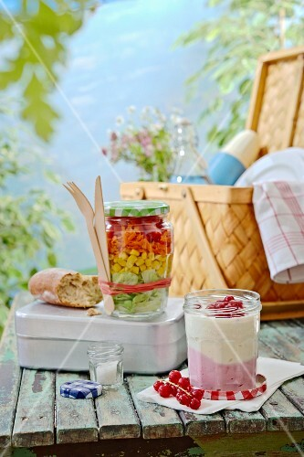 Salads and desserts in Bonne Maman picnic jars