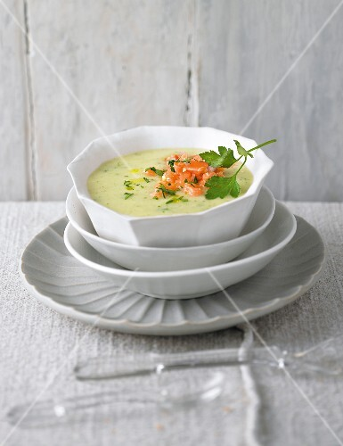Parsley soup with salmon tatar