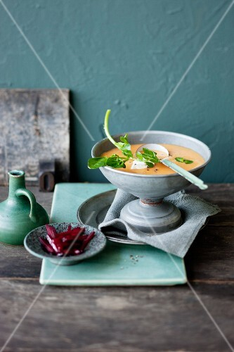 Pumpkin and parsnip soup with beetroot