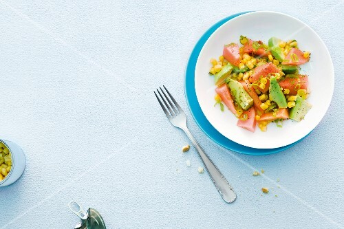 Avocado salad with sweetcorn and melon