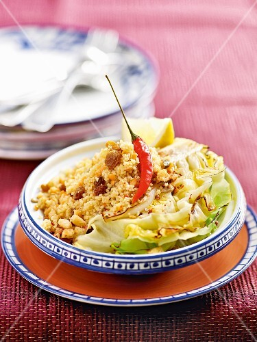 Couscous with lentils and pointed cabbage with chilli crumbs